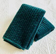 NWOT Pottery Barn Pair Spruce Green Velvet Channel Standard Pillow Shams