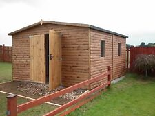 QUALITY CUSTOM MADE 20 X 10 WOODEN T&G LOGLAP GARAGE WORKSHOP