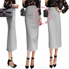 Womens Wear Work Slim Fit Straight Pencil Long Maxi Skirt DRESS LIGHT GRAY SMALL