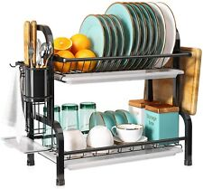 New listing 2 Tier Dish Rack and Drainboard Set, Romision Compact Stainless Steel Dish Dryin