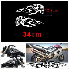 DIY White 2Pcs Motorcycle Gas Tank Flames Skull Vinyl Decal Decoration Stickers