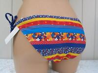 BIKINI BOTTOM UK SIZE 8 BLUE RED YELLOW STRIPED TIE SIDE LADIES SWIMWEAR BNWT
