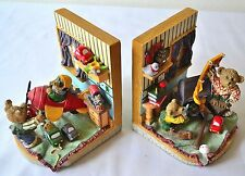 BEAR Bedroom Scene BOOKENDS Resin ~ Colorful 2 Piece Set ~ Child Girl Boy Gift