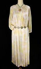 Vintage Pastel Floral Satin Maxi Dress/Nightgown - M L Pink Yellow Boho Flowy