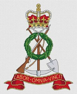 """Royal Pioneer Corps Initial Cap Cross Stitch Design (7x8"""",18x20cm,kit or chart)"""