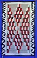 "Navajo Rug  - 36 x 58 1/2"" Optical Pattern Circa 1930 Red Black Gray White NICE!"