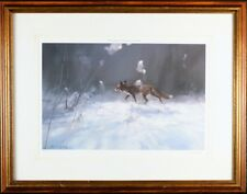 Manfred Schatz Pencil Signed, Framed, Numbered Vintage Art Print, Winter Fox