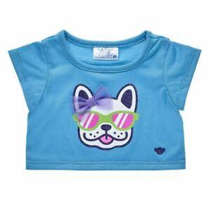Build a Bear Full Size Clothing ~Dog Bow Aqua Tee Shirt []