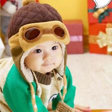 Newborn Baby Cartoon Pilot Aviator Winter Warm Earflap Hat Crochet Fleece Caps