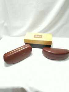 Lot of 2 Maui Jim Sunglasses Cases Brown Leather Clamshell Felt Lined With 1 Box