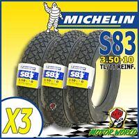 3 GOMMA COPERTONI MICHELIN S83 3.50-10 TUBELESS PIAGGIO VESPA PX LML