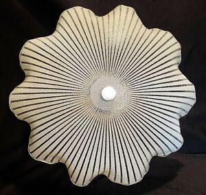 Mid Century Ceiling Light Fixture Atomic Glass Shade Psychedelic Stripe Sunburst