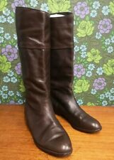 Vintage Dark Brown Pull On Flat Leather Boots UK 5