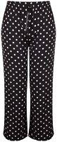 Ladies 14 - 24 Black White Polka Straight Leg Stretchy Sheer Summer Trouser