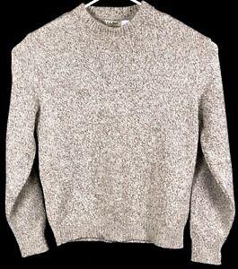 vintage Men's LL BEAN Cream Wool Blend Knit Long Sleeve Crewneck Sweater XL Long