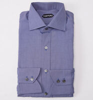 NWT $635 TOM FORD Slate Blue End-on-End Cotton Dress Shirt 15.75 Classic-Fit