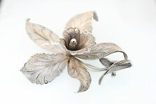 STERLING SILVER FAB 3-D DESIGN LACEY FILIGREE FLOWER BROOCH HIGHLY DETAILED