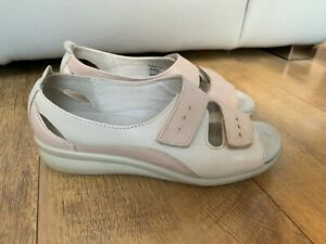 HOTTER SANDALS SHOES FLORENCE Beige Leather Two Strap UK 5 / 38 - VGC