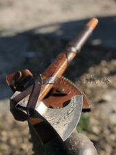 CUSTOM MADE HAND FORGED DAMASCUS STEEL RAGNAR LOTHBROK VIKING AXE HATCHET-SHEATH