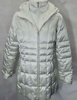 Landsend M Uk 14-16 Cream Padded Down Snug Warm Jacket Hooded Zip Pockets