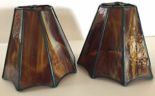 Vintage 70's Amber Stained Glass Slag Octagon Lamp Shades Handcrafted Lot of 2
