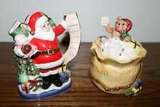 Christmas Santa and Toy Sack Sugar Bowl and Creamer Set Omnibus by Fitz and Floy