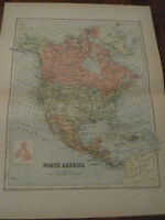 Nice Antique Map of North America  c. 1895 Johnston