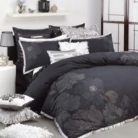 Logan & Mason Keiko Black Embroidered Double Size Quilt Doona Cover Set