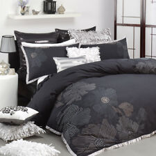 Logan & Mason Keiko Black Embroidered Double Size Quilt Doona Cover Set