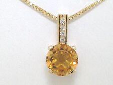 Citrin Anhänger 585 Gelbgold 14Kt Gold natürlicher Citrin und 4 Brillanten