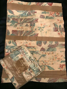 FAB! Pair Soft Surroundings Amalfi Pleated Leaves 100%Cotton STD Pillows Shams