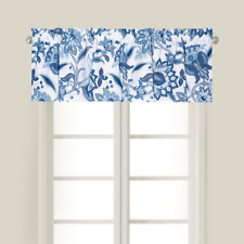 "White, Blue Floral C&F Enterprises Valance - 15.5""Lx 72""W - ""Julianna"""