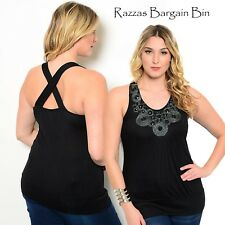 New Ladies Black X-Over Back Top Plus Size 14/1XL (9859)MK
