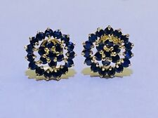14k Solid Yellow Gold Genuine Sapphire Flower Earring. G 3.36grams