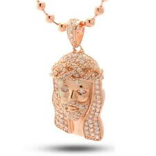 King Ice Micro Jesús 14k chapado en oro rosa COLGANTE CON CIRCONITA Collar