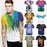 Rainbow Crayon 3d Print Womens Mens Graphic Tee Short Sleeve Street T-Shirt Tops