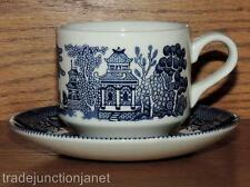 CHURCHILL STAFFORDSHIRE GEORGIAN FINE ENGLISH TABLEWARE BLUE WILLOW CUP&SAUCER