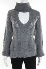Intermix Gray Knitted Long Sleeve Sweater Size Large