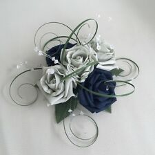 FLOWERS NAVY SILVER WEDDING CAKE TOPPER TABLE DECORATION FISH BOWL CENTREPIECE