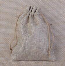 5Pc 10x14cm Nature Color Burlap Hessian Jute Drawstring Gift Favour Wedding Bags