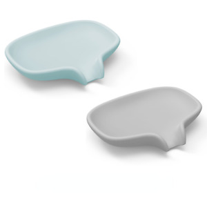 2 PACK Silicone Soap Dish with Drain Bar Soap Holder for Shower/Bathroom