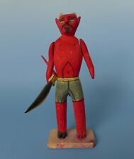 """Vintage Mexican wood carved devil diablito Oaxaca 9 3/8"""" tall"""