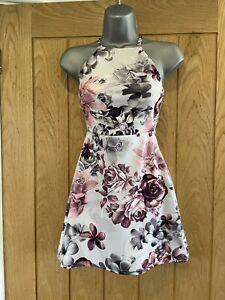 Boohoo Petite Pink and Grey Floral Mini Dress size UK 4