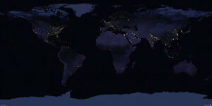 Map Of The World - Earth By Night - Giant Xxl Poster Print (Nasa Observatory)