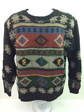 Woolrich Sweater Men's Medium Wool Ski Fuzzy Multi-color 80's Retro Ugly A6