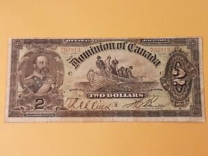 "➡➡ 1897 DOMINION OF CANADA $2 BOVILLE ""DORY"" DC-14c  NOTE BILL S/N 793913 F-VF"