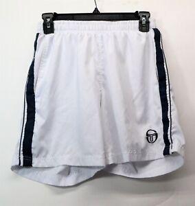 Sergio Tacchini S Tech Mens White With Blue Stripe Medium Tennis Shorts (A5)