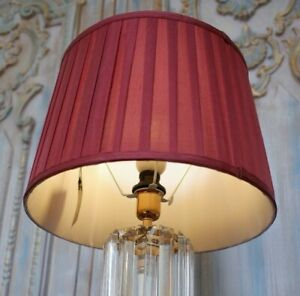 New LINEN Pleated BLACK or Burgundy Lined Lamp Light Shade Round