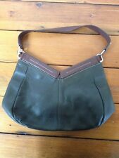 Robert Pietri Dark Forest Green Brown Genuine Leather Handbag Purse Spain