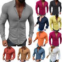 Herren Sommer Gestreift Langarm Shirts Stehkragen Slim Fit Freizeit Hemden Bluse